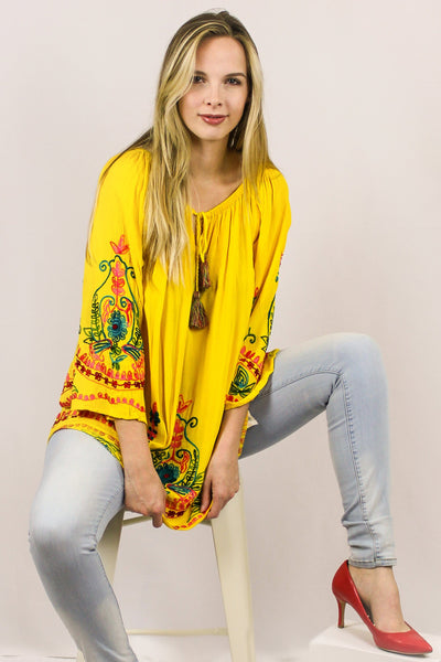 Avani Del Amour TOPS Flirty Fiesta Embroidered Tunic