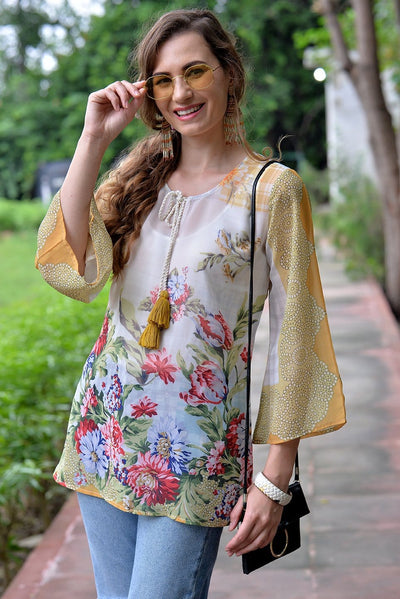 Avani Del Amour TOPS Garden Party Flared Sleeve Top