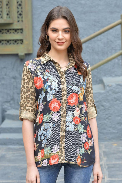 Avani Del Amour TOPS Looking Good Leopard Button Down