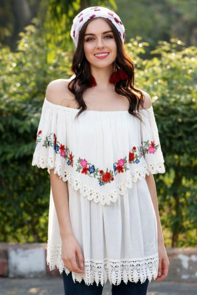 Avani Del Amour TOPS Off-shoulder Embroidery Ruffle Top