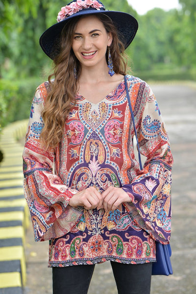 Avani Del Amour TOPS Painted Paisley Flare Sleeve Tunic