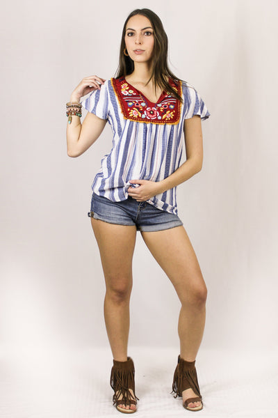 Avani Del Amour TOPS Seeing Summer Stripes Top