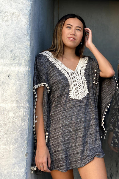 Avani Del Amour TOPS Shake Your Pom Pom Flared Sleeve Poncho