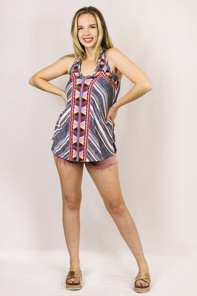 Avani Del Amour TOPS Summer Lovin' Stripe Sleeveless Top