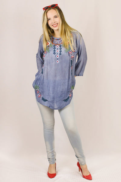 Avani Del Amour TOPS Waiting On The Weekend Embroidered Top