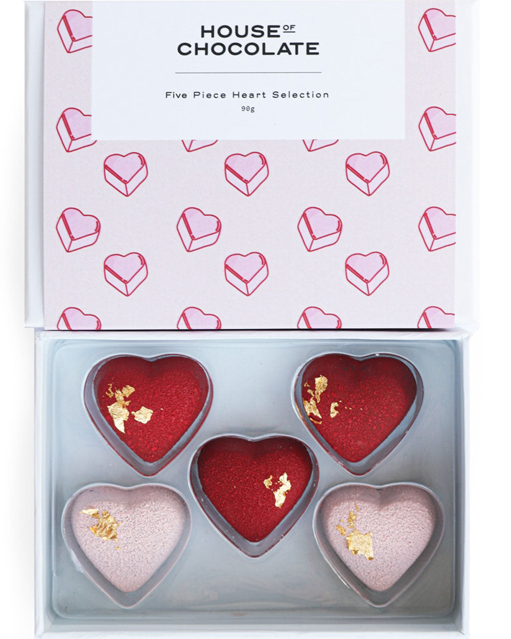 5 Pc Pink Heart Bonbon Box / Valentine's Day / House of Chocolate