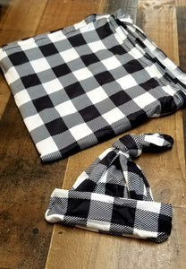 Buffalo Plaid Premium Swaddle and Hat Set