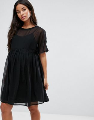 Black PETITE Layered Smock mini dress, Size 6