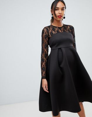 RENTAL Black Lace Long Sleeve Crop Top Maternity Dress, Size 4