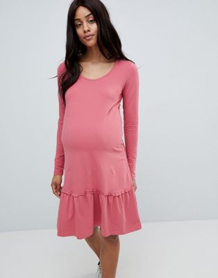 Pink peplum hem jersey midi dress in pink