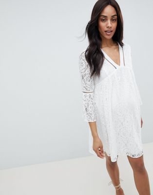 RENTAL White All-Over Lace Mini Dress