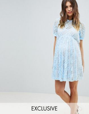 RENTAL Blue Lace mini dress with collar