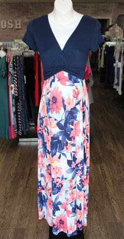 Small Navy Floral Maxi Dress