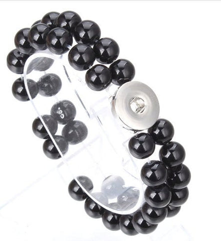 Black Smooth Natural Stone Two-strand Bracelet