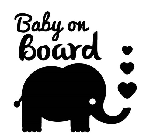 Elephant Baby on Board Vinyl Decal