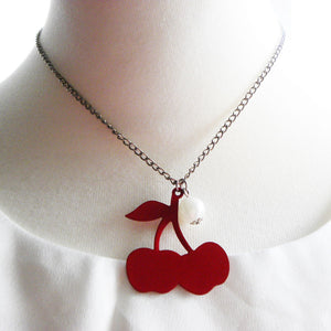 Red cherry contemporary necklace - Cool Vintage and Beyond