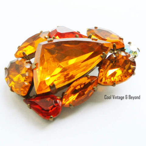 1960s Orange vintage rhinestone brooch - Cool Vintage and Beyond