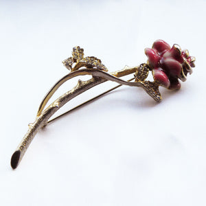 Pink enamel rose brooch - Cool Vintage and Beyond