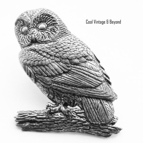AR Brown Pewter tawny owl brooch pin - Cool Vintage and Beyond