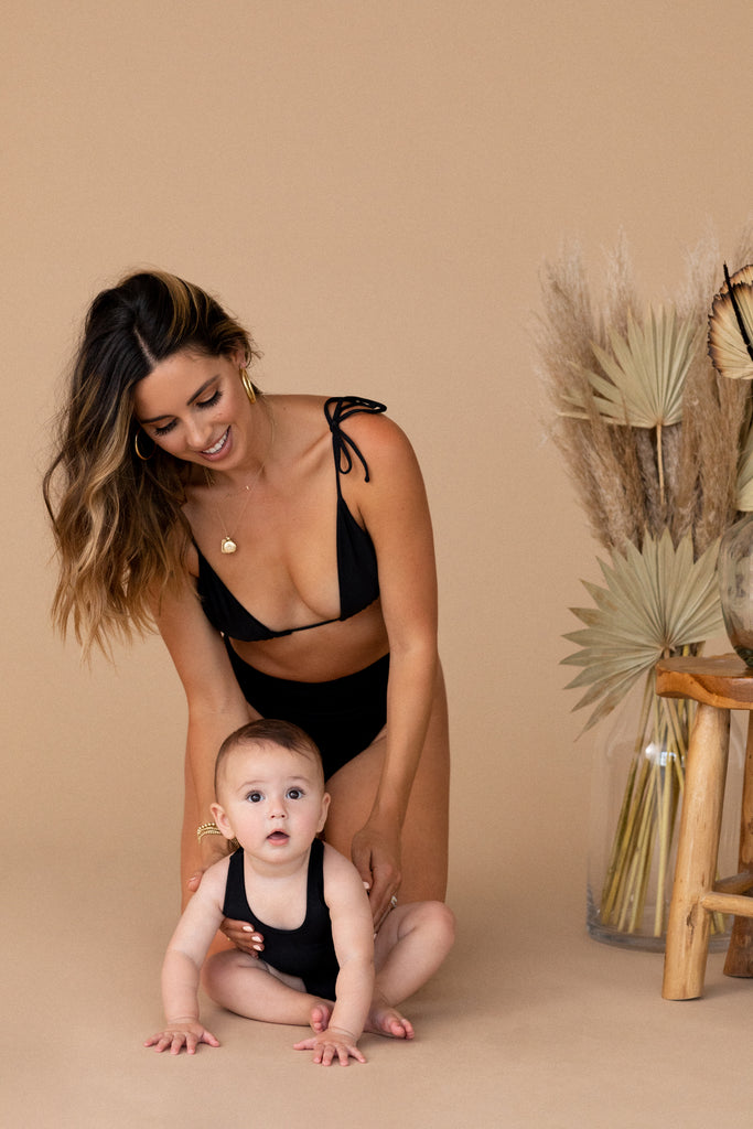 CAPRI MINI SUIT - BLACK - TAN + LINES by Sivan Ayla