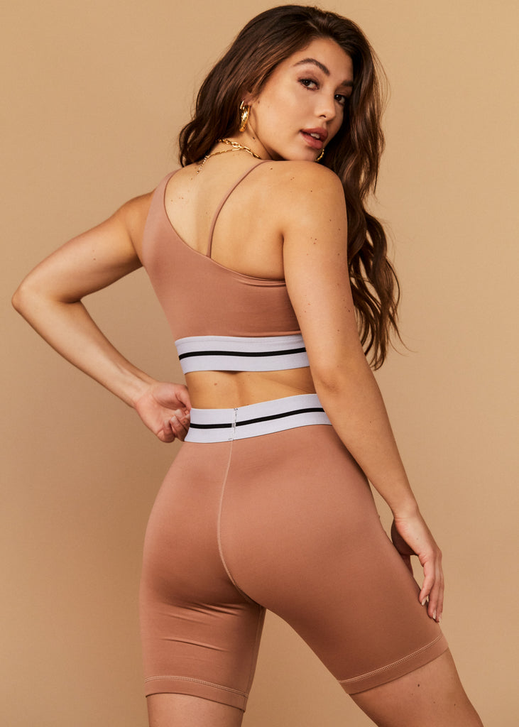 MALIBU SHORTS - DIRTY CHAI - TAN + LINES by Sivan Ayla