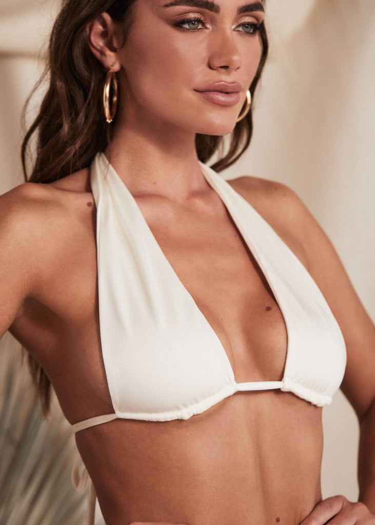 MIAMI TOP - PEARL - TAN + LINES by Sivan Ayla