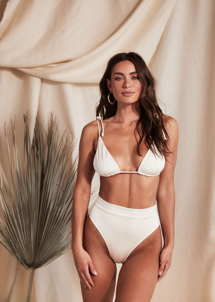 MYKONOS TOP - PEARL - TAN + LINES by Sivan Ayla