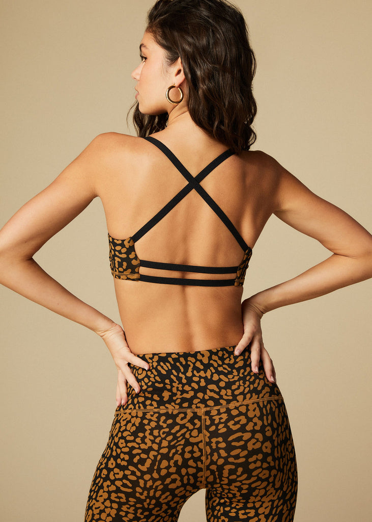 BEVERLY BRA - BRONZE LEOPARD - TAN + LINES by Sivan Ayla
