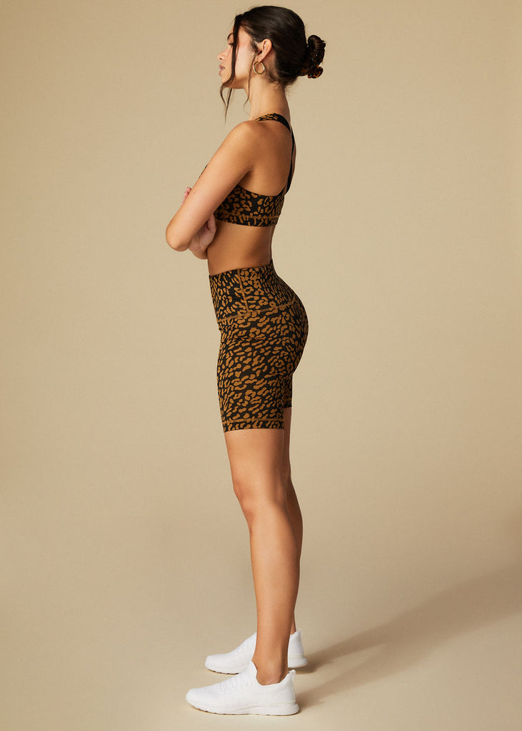 LAUREL CYN SHORTS - BRONZE LEOPARD - TAN + LINES by Sivan Ayla
