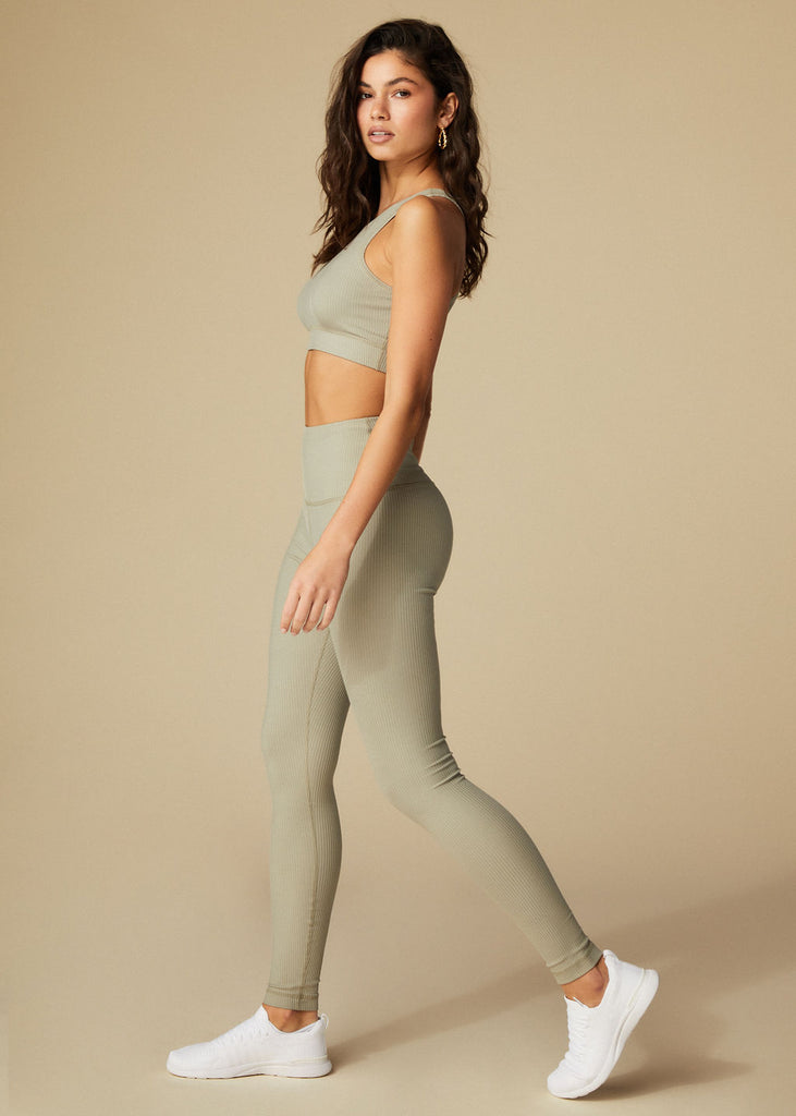 TEMESCAL CYN LEGGINGS - SAGE RIBBED - TAN + LINES by Sivan Ayla