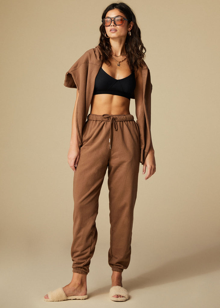 MONTECITO SWEATPANT - CHOCOLATE - TAN + LINES by Sivan Ayla