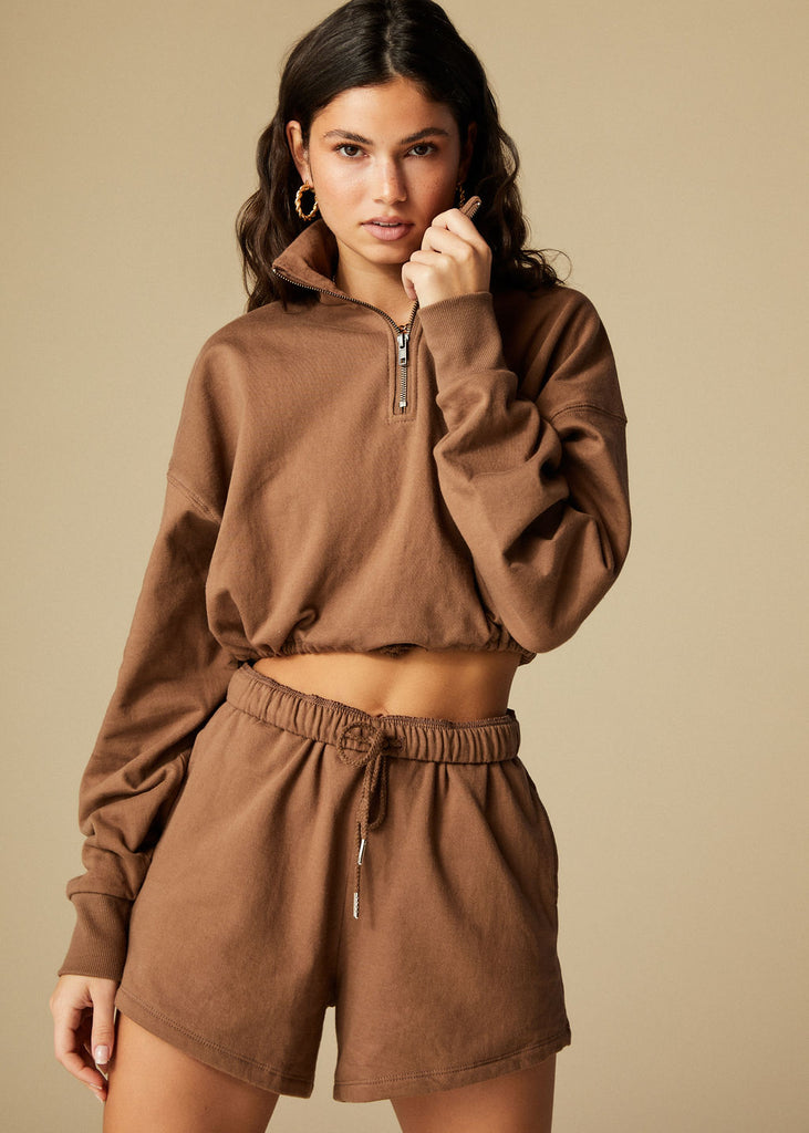 SANTA BARBARA SWEATSHIRT- CHOCOLATE - TAN + LINES by Sivan Ayla