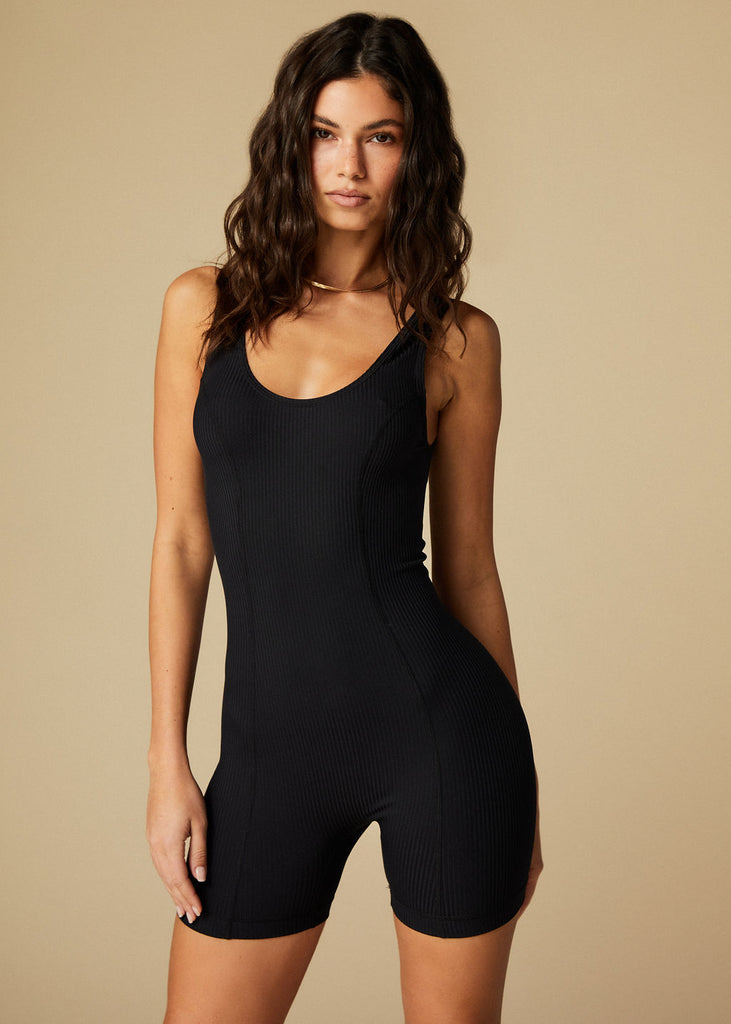 SILVERLAKE ROMPER - BLACK RIBBED - TAN + LINES by Sivan Ayla