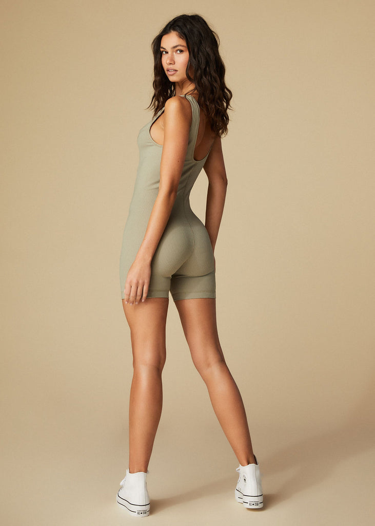 SILVERLAKE ROMPER - SAGE RIBBED - TAN + LINES by Sivan Ayla