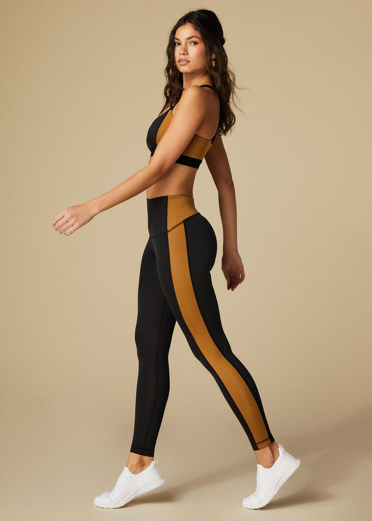 ABBOT KINNEY LEGGINGS - BLACK + BRONZE - TAN + LINES by Sivan Ayla