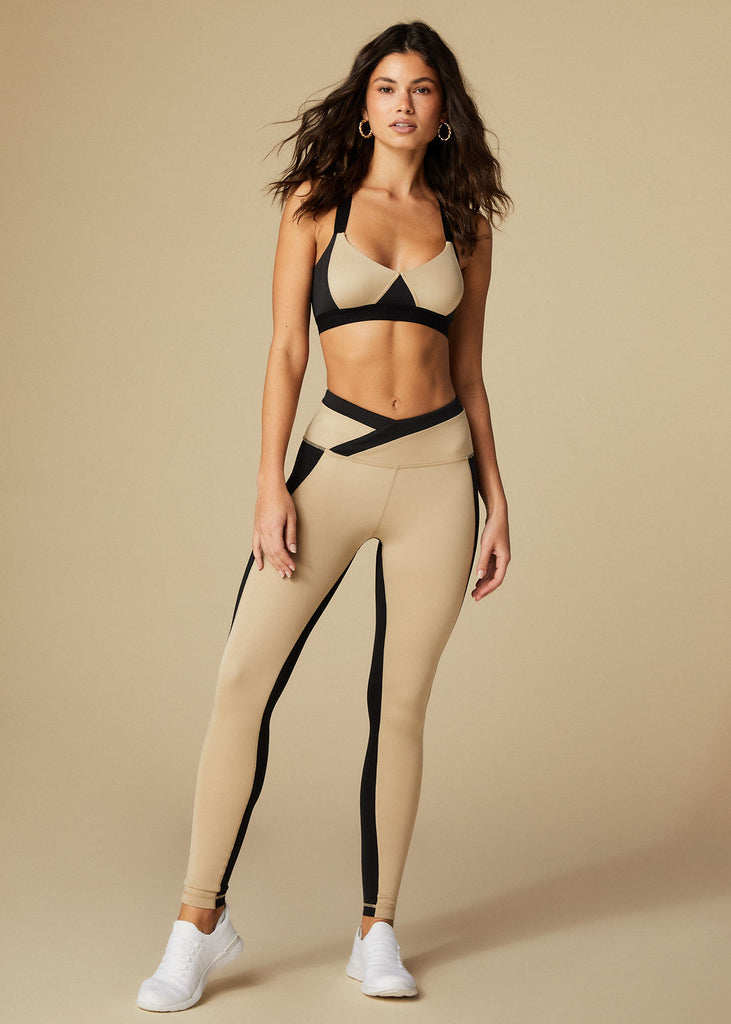 MELROSE LEGGINGS - BLACK + TAN - TAN + LINES by Sivan Ayla