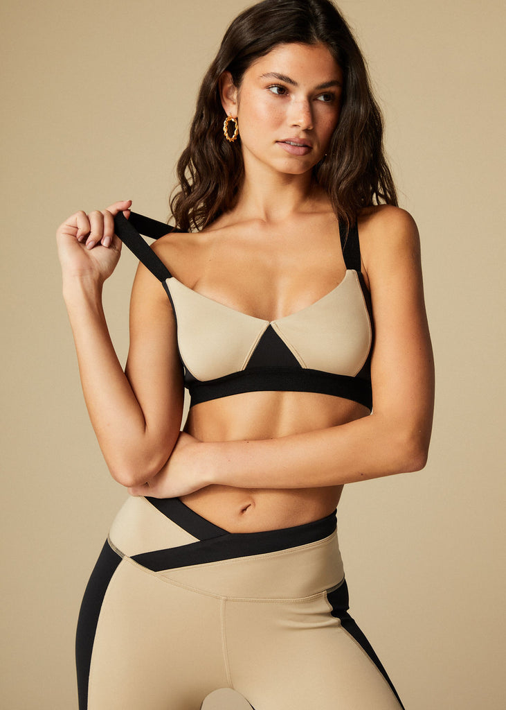 SUNSET BRA - BLACK + TAN - TAN + LINES by Sivan Ayla