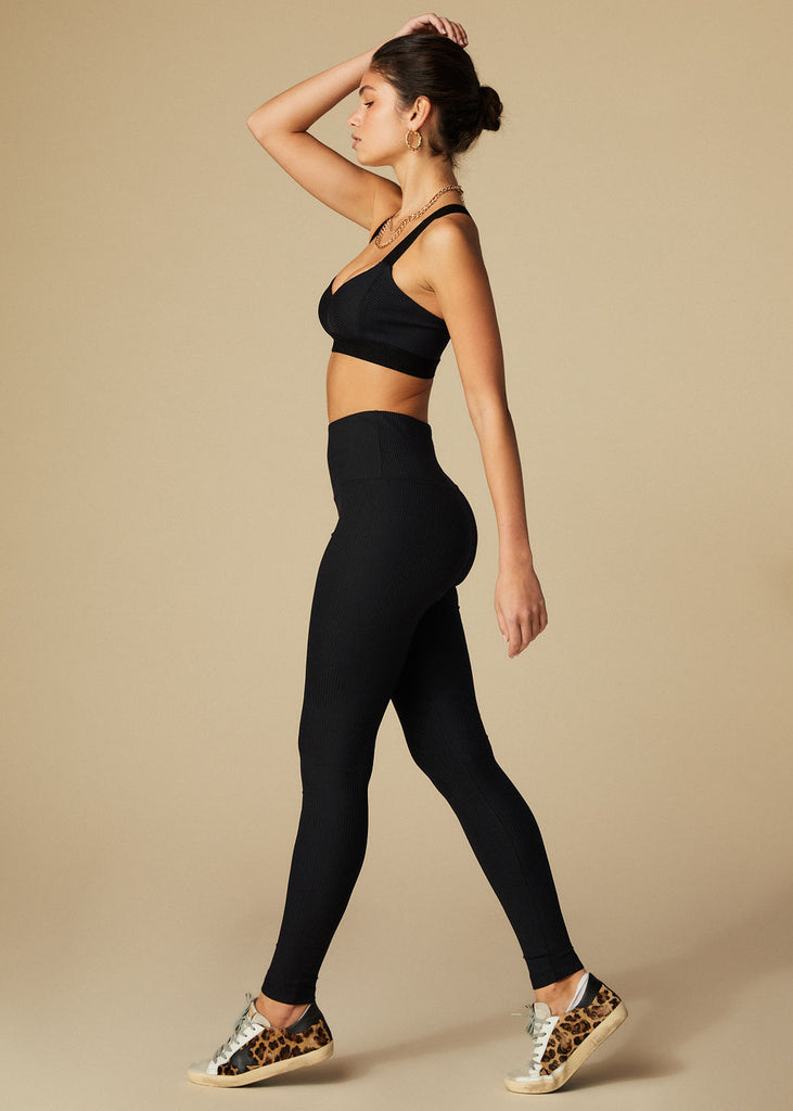 TEMESCAL CYN LEGGINGS - BLACK RIBBED - TAN + LINES by Sivan Ayla