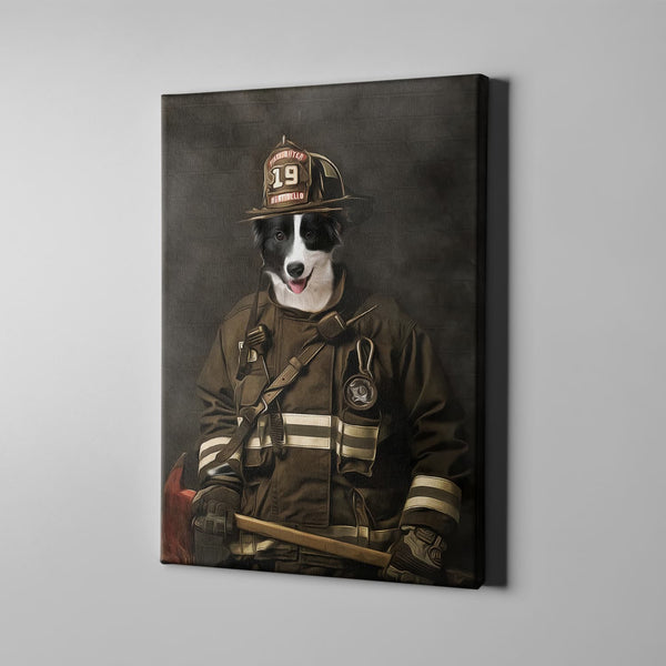The Firefighter=Custom( Your Pet) - Canvas Art- Perfect Pet Owner Gifts - Panbiii online