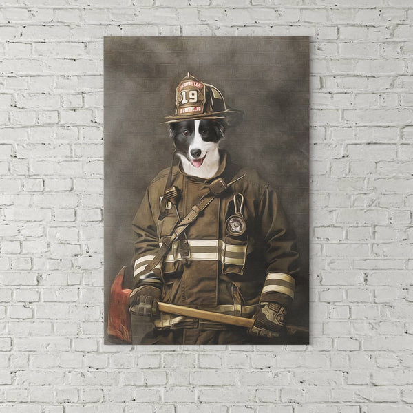 The Firefighter=Custom( Your Pet) - Canvas Art - Panbiii online