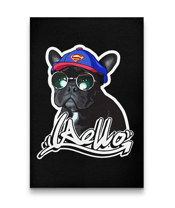Custom Hand-drawn Pet Canvas Art (With hat and glasses) - Panbiii online