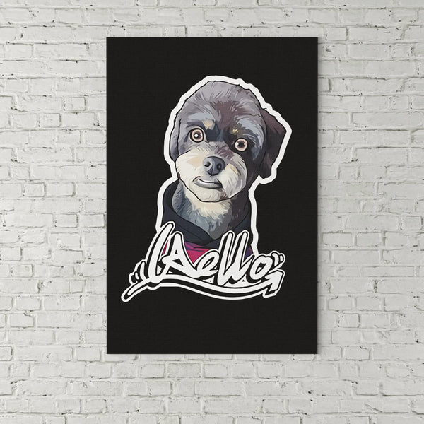 Custom Hand-drawn Pet Canvas Art (No Hat And Glasses) - Panbiii online