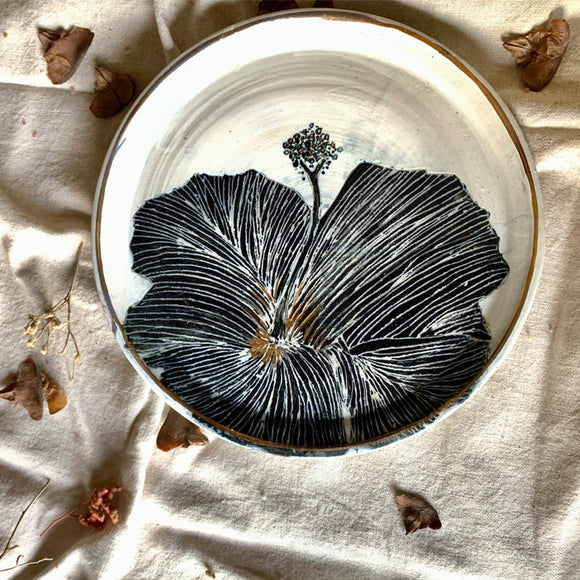 Handpainted White and Gold Hibiscus Plate