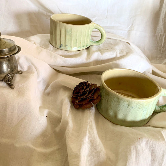 Green and White Fluted Cups - Set of Two (without gift box)