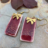 Earrings Rectangle - Gold lined over Wine Red with butterfly charm