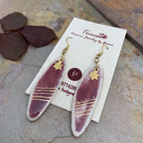 Oval Ear Rings - Gold Lined over Wine Red : Stars and Stripes