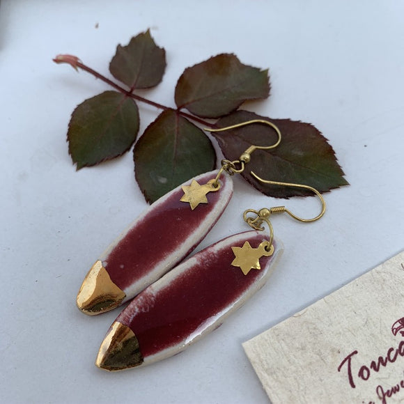 Oval Earrings- Gold Lined over Wine Red single touch with star charm