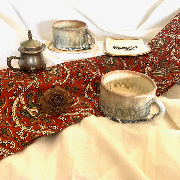 Desert Storm Fluted Cup and Saucer - Set of Two (without Gift Box)