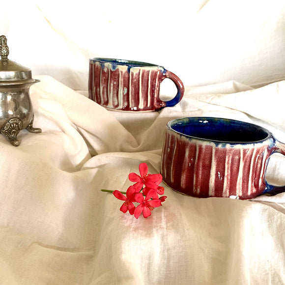 Red and Blue Fluted Cups - Set of Two (without gift box)