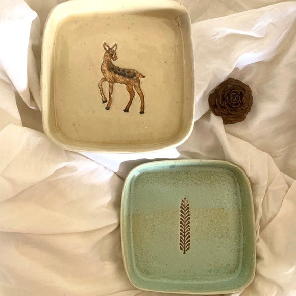 Deep Square Plate  - Bambi and Leaf motif set